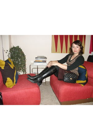 gold vintage vest - red vintage skirt - black Liz Claborne boots - black Old Nav