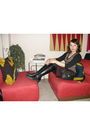 Gold-vintage-vest-red-vintage-skirt-black-liz-claborne-boots-black-old-nav
