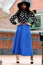 Black-floppy-sun-hat-warehouse-hat-blue-forever-21-skirt