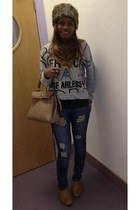 Forever 21 jeans - tan Marc Jacobs bag - burnt orange brown suede H&M flats