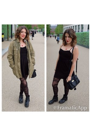 black boots - black H&M dress - army green Topshop jacket - black bag