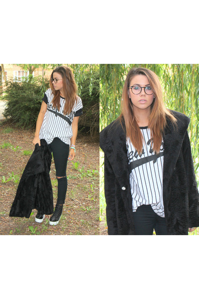 Topshop coat - new look jeans - truffle heels - firmoo glasses