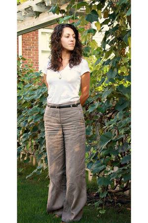 white H&M t-shirt - black H&M belt - brown H&M pants - gold vintage necklace