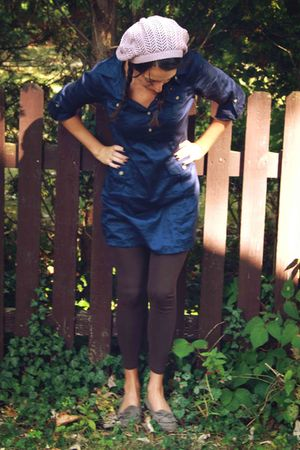 blue Old Navy top - brown Forever 21 leggings - silver Urban Outfitters shoes -