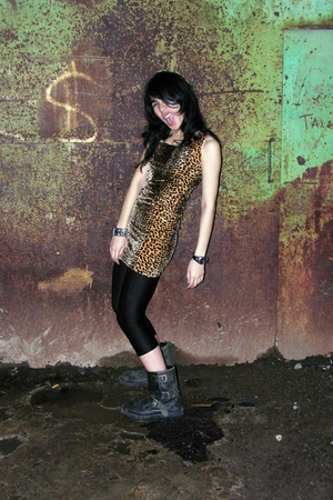 brown handmade dress - black leggings - black Underground bitch UGB boots
