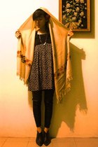 arabian pashmina scarf - Simplicity dress - Marks and Spencers boots - leggings