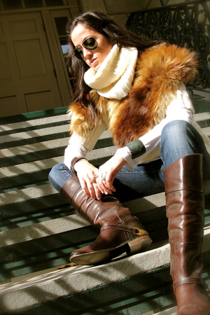 white Burberry sweater - brown Golden Goose boots - vintage fox fur scarf - Seve