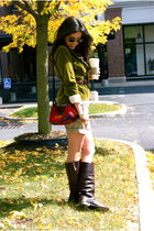 brown Golden Goose boots - green JCrew peplum jacket - silver haute hippie t-shi