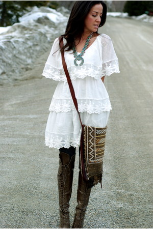 light brown over the knee Joie boots - white gauze H&M dress - camel leather ban