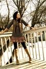 Black-h-m-dress-black-jcrew-tights-beige-kors-by-michael-kors-boots-beige-