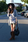Black-free-people-hat-blue-jcrew-shirt-gray-jcrew-cardigan-brown-kors-boot