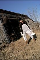 silver LaRok dress - silver Rebecca Taylor tights - white DKNY sweater - black a