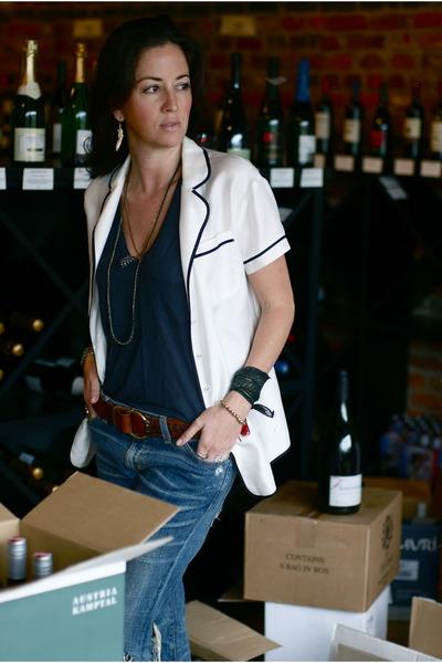 t by alexander wang t-shirt - Current Elliott jeans - Eloise shirt - Prada pumps