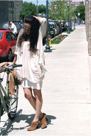 pink H&M dress - beige JCrew cardigan - brown Kors by Michael Kors shoes - brown