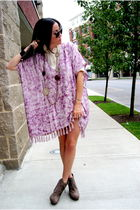 purple Tigerlily dress - brown asos shoes - white JCrew blouse
