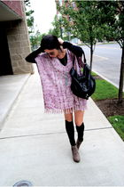 purple Tigerlily dress - black JCrew socks - brown asos shoes - black Marc by Ma