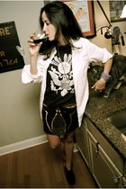 black vintage t-shirt - black gryphon skirt - white JCrew mens shirt - black Eli
