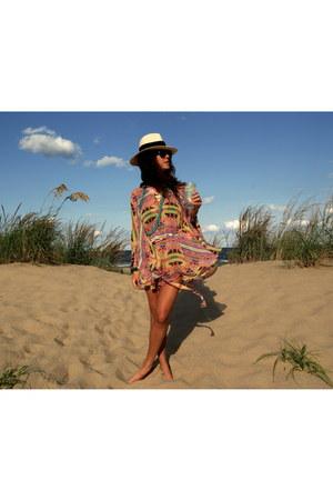 hot pink hooded silk mara hoffman dress - white panama JCrew hat