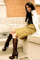brown Prada boots - green JCrew skirt - brown Nanette Lepore blouse - white JCre