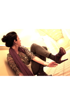 white Diane Von Furstenberg blouse - gray JCrew pants - purple Miu Miu shoes - p