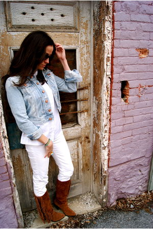 blue H&M Jean jacket - white Seven jeans - brown Kors Michael Kors boots - white