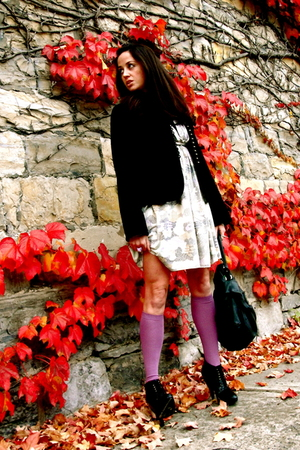 purple JCrew socks - Rachel Pally dress - black JCrew blazer - black Burberry bo