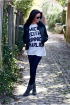 white wildfox couture t-shirt - charcoal gray Jeffrey Campbell boots