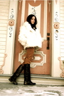 White-vintage-fur-coat-orange-jcrew-pants-brown-golden-goose-boots