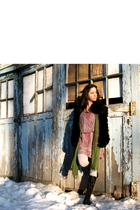 black Joie boots - black andrew marc vest - purple Rebecca Taylor dress - green