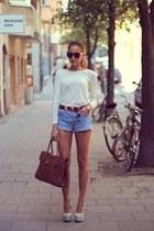 brown bag - beige shoes - sky blue jeans - eggshell blouse - brown belt