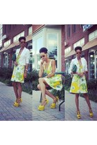 light yellow Shoe Dazzle pumps - light yellow vintage dress - white H&M blazer