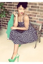 green Forever 21 blazer - polka dot dress - wizard of oz Buffalo Exchange heels