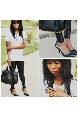 black faux leather Nordstrom leggings - black Alexander Wang bag