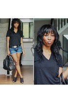 navy blank nyc shorts - black Alexander Wang bag - black madewell t-shirt