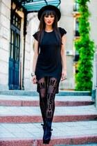 black Mihaela Glavan boots - black H&M hat - black H&M tights