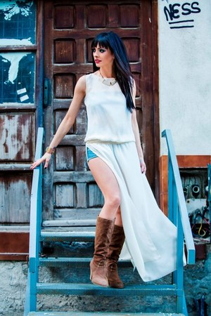 white Cosmina Pasarin-T shirt Collection 2013 dress - light brown new look boots