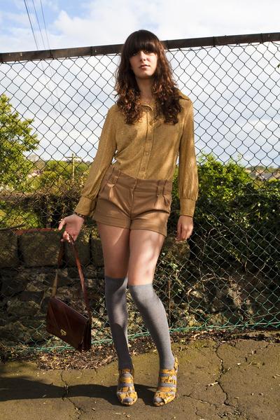 silver socks - gold vintage shirt - tawny vintage shorts