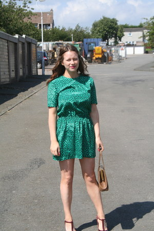 green animal print Cotton fields dress - green animal print Cotton fields dress