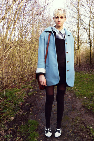 sky blue thrifted coat - white black and white thrifted shoes