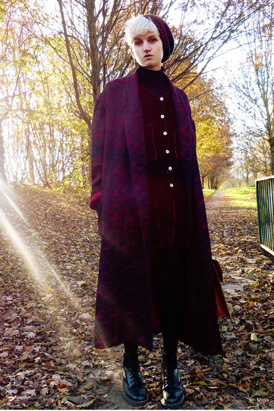 maroon dressing gown thrifted coat - black doc martens thrifted boots