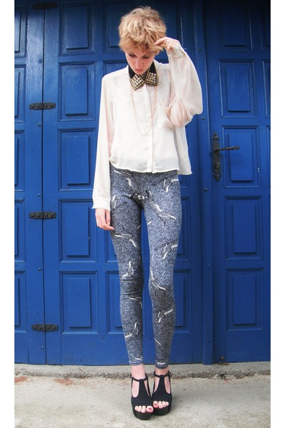 cream H&amp;M shirt - heather gray cheetah printed asos leggings