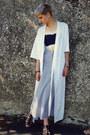 Light-blue-maxi-skirt-look-vintage-skirt-ivory-kimono-second-hand-cardigan