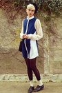 Navy-collar-minkpink-dress-black-beret-thrifted-hat-ivory-sheer-h-m-shirt