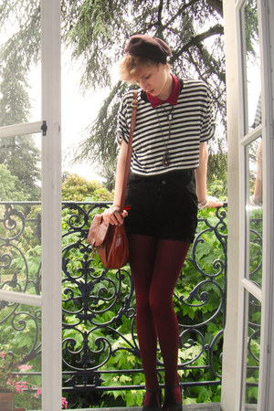 crimson beret thrifted hat - ruby red romwe tights