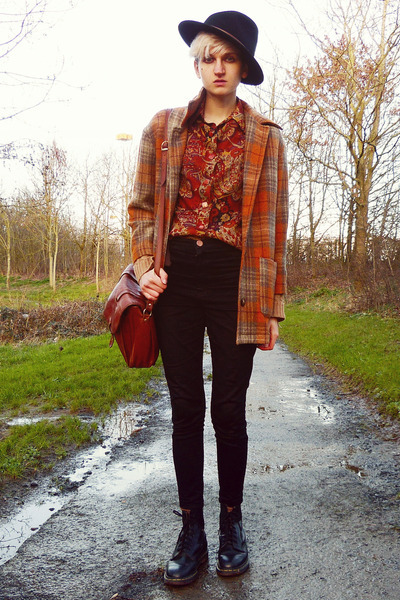 black doc martens thrifted boots - orange checkered thrifted coat
