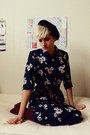 Navy-floral-print-thrifted-dress-black-beret-thrifted-hat-ruby-red-h-m-socks