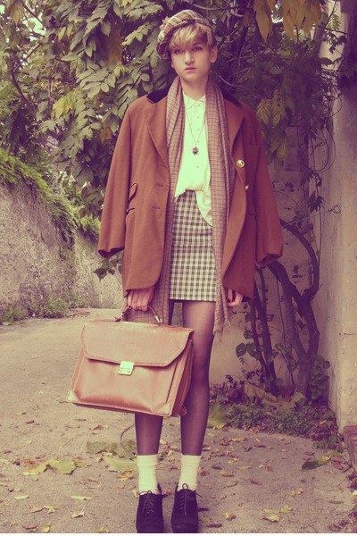 beige checkered thrifted skirt - burnt orange thrifted coat