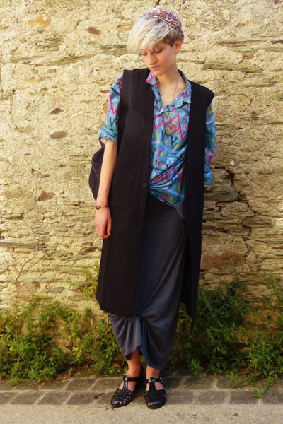 turquoise blue printed second hand shirt - charcoal gray maxi dress asos dress