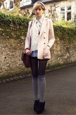 light pink buttoned H&M jacket - beige beanie asos hat