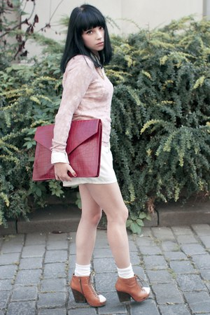 ruby red asos bag - light pink Topshop sweater - white H&M shirt
